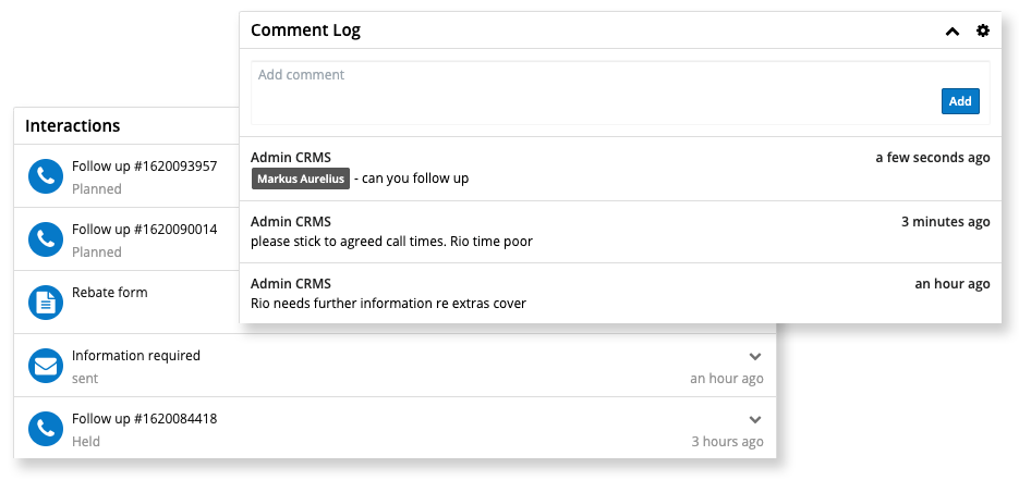 SingleView Comments and Interactions