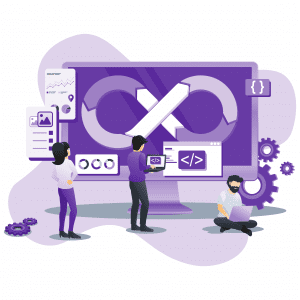 people working a design loop